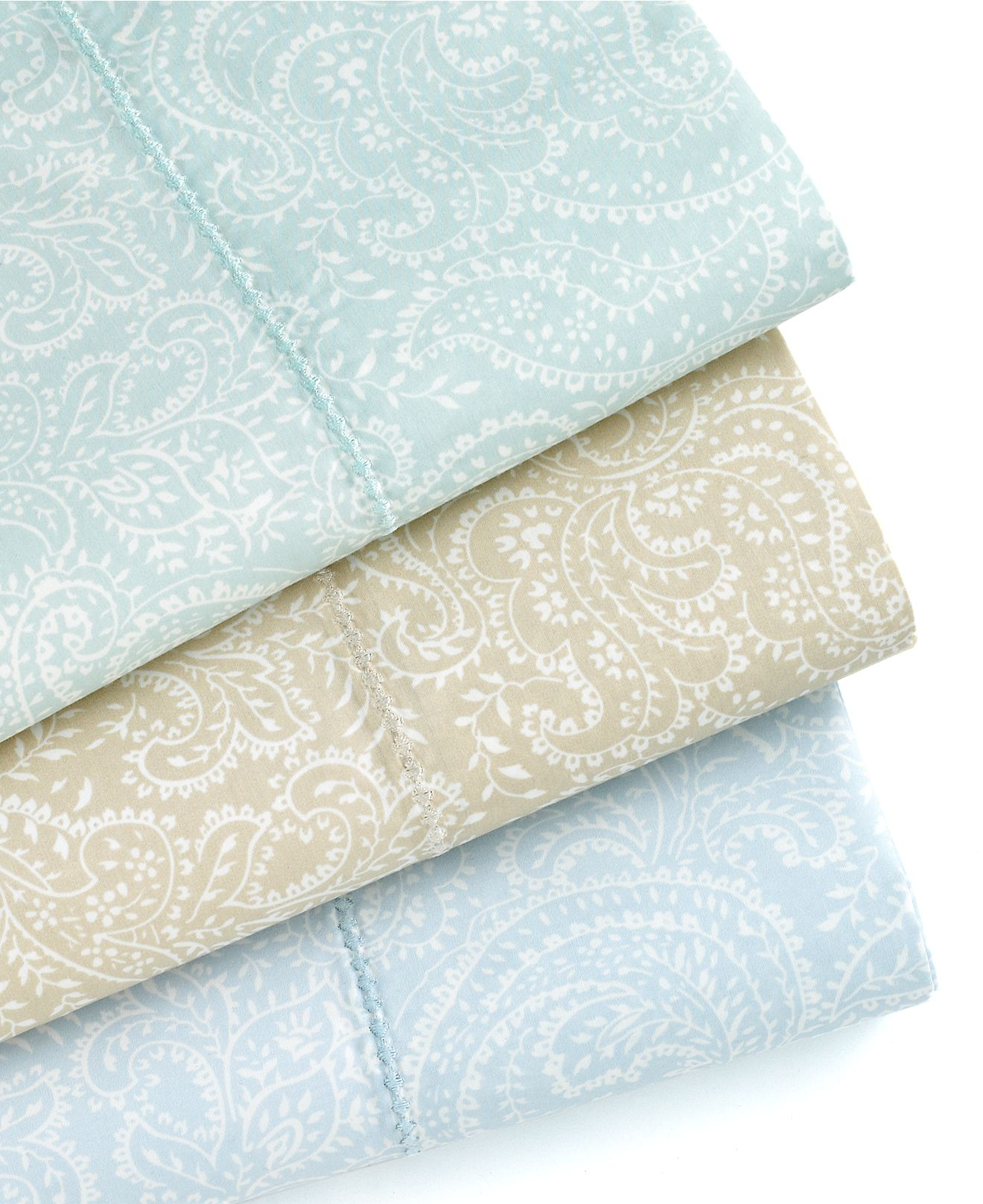 ... STEWART Ainsley Paisley 400 TC Cotton QUEEN Fitted Sheet Pale Blue
