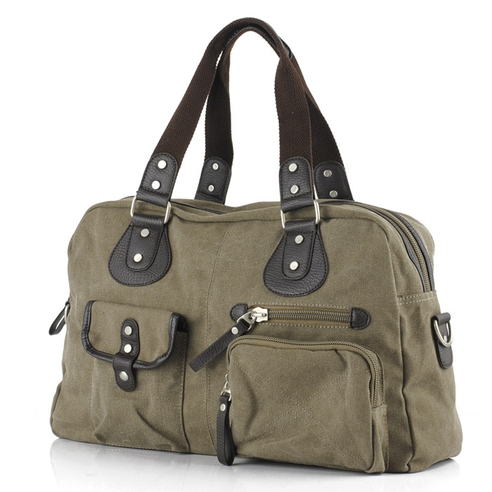 Olive Cotton Canvas Zippered Tote Bag | Vintage Canvas Handbags-Backp ...