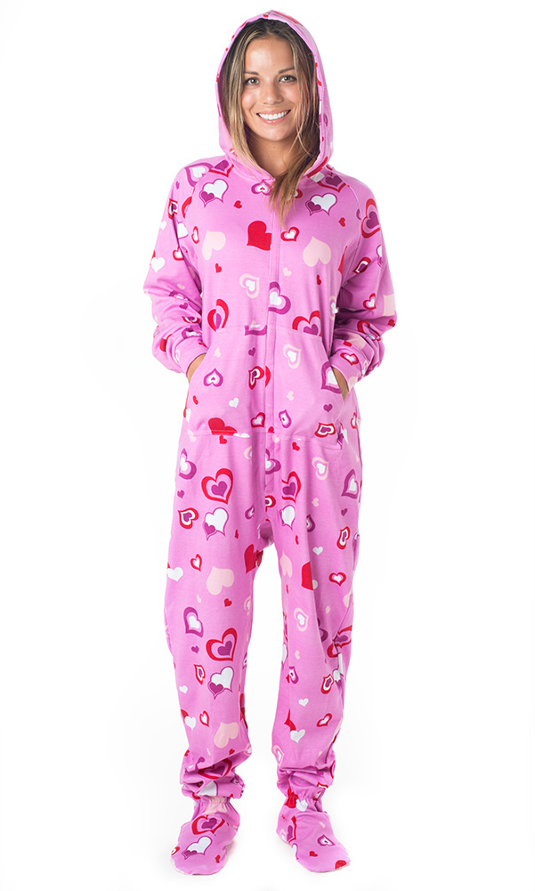 Details about Footed Pajamas - Sweetheart Adult Hoodie Cotton