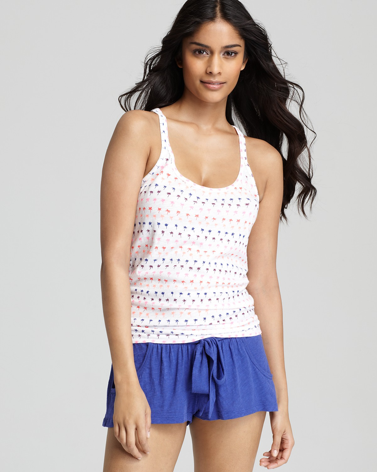 ... Palm Tree Print Racerback Tank Top and Pajama Shorts | Bloomingdale's