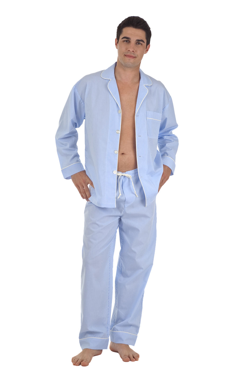 Pajamas | Blue/White Stripe Men�s Egyptian Cotton Classic Pajama ...