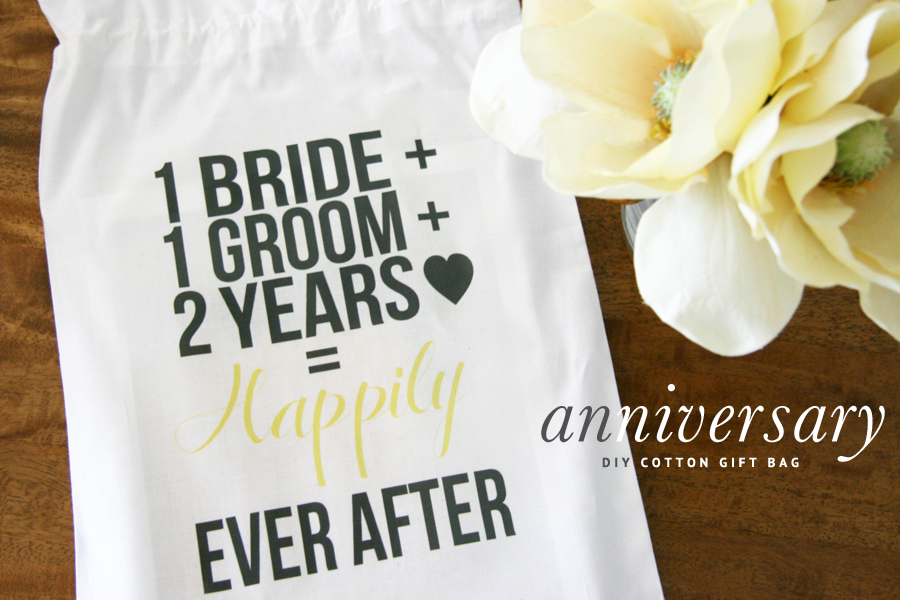 DIY 2nd Wedding Anniversary Cotton Gift Bag | Pretty Fluffy
