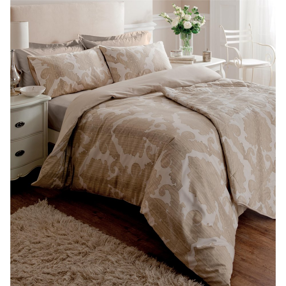 Ombre Damask Cream & Beige Cotton Duvet Cover | More Duvets Available