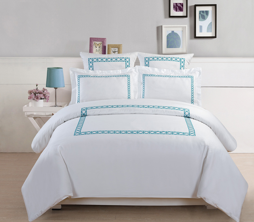 ... Collection 500 Thread Count Cotton Embroidered Duvet Cover Set Queen